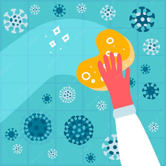 A mão em uma luva de borracha com uma esponja lava uma parede com coronavírus para proteger a família de vírus, germes ou bactérias. líquido desinfetante antibacteriano. limpeza doméstica. ilustração plana