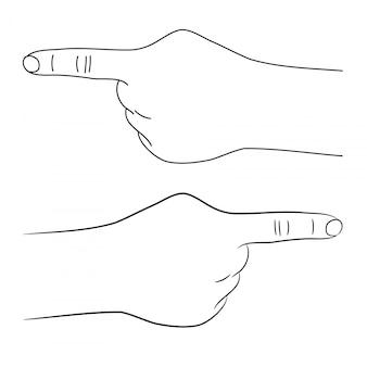 A mão humana aponta com uma ilustração de dedo.