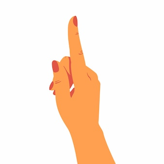A mão humana aponta para cima.