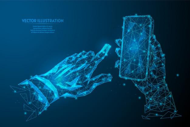 A mão humana pressiona o indicador em um close da tela de toque. smartphone em branco. tecnologias inovadoras inteligentes. conceito de negócios.