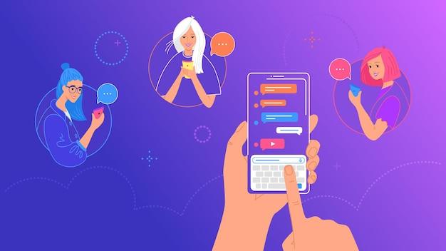 A mão humana segura um telefone inteligente com app messenger e teclado na tela. ilustração em vetor gradiente de pessoas usando mensagens de texto no smartphone para um grupo de amigas via aplicativo de mensagens