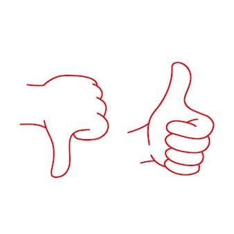 A mão mostra um gesto ruim e um gesto bom ok ilustração vetorial clipart divertido isolado