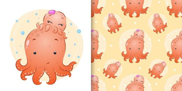 A mão perfeita desenhada do grande polvo com o pequeno polvo bebê de ilustração