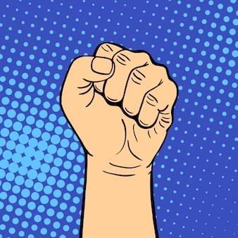A mão que mostra o punho humano do gesto surdo-mudo do punho segura a comunicação e o sentido do projeto do punho toca a ilustração colorida do estilo do pop art.