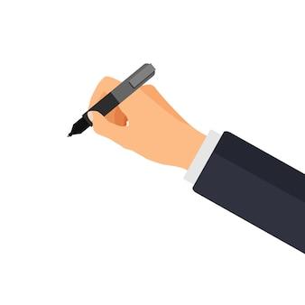 A mão segura uma caneta em um estilo 3d.