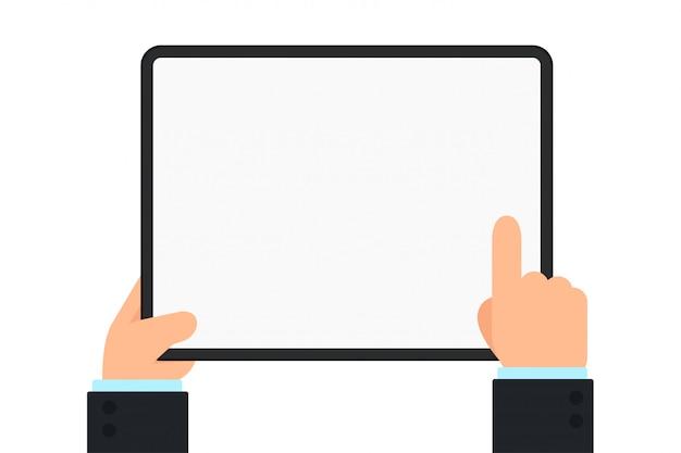 A mão segurando o tablet. a mão do homem de negócios, apontando para a tela do tablet.