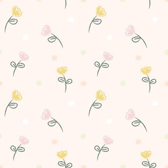 A mão sem emenda do teste padrão tira a flor amarela e cor-de-rosa.