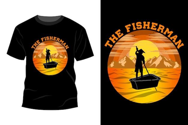 A maquete da camiseta do pescador com design vintage retro