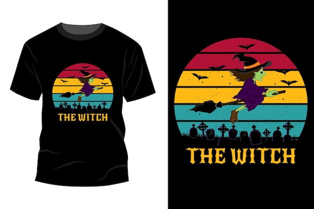 A maquete da t-shirt da bruxa com design vintage retro