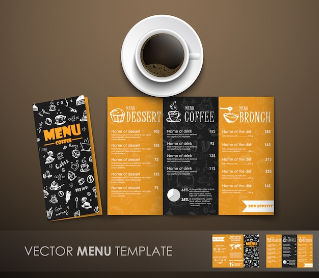 A maquete do menu de café com uma xícara de café