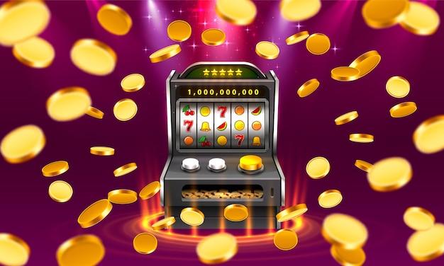 A máquina caça-níqueis 3d ganha o jackpot, isolado no fundo da lâmpada brilhante. ilustração vetorial
