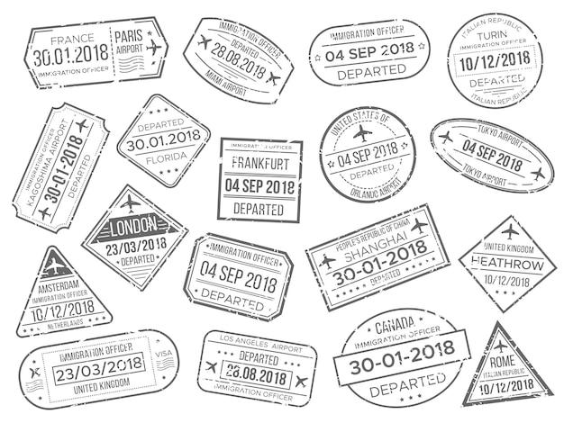 A marca simples do cachet do aeroporto do negócio e os passaportes do avião dos costumes controlam o selo.