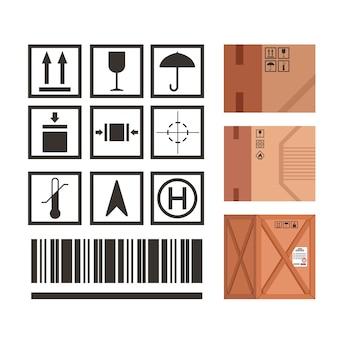 A marcação de embalagens industriais define os símbolos dos ícones de manuseio de embalagens. pacote de regras de aplicação de ícones de símbolos com exemplos de ilustrações.