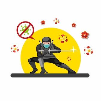 A máscara de desgaste ninja destrói o vírus das bactérias celulares com a espada katana. ninja posar atrás do pôr do sol. na ilustração plana dos desenhos animados