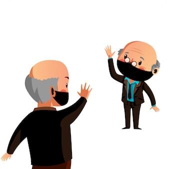 A máscara do desgaste de dois homens velhos tem distanciamento físico