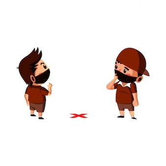 A máscara do desgaste de dois meninos é aprender a fazer o distanciamento físico no novo normal