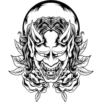A máscara oni silhueta japonesa