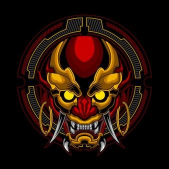 A máscara ronin no ornamento futurista do círculo