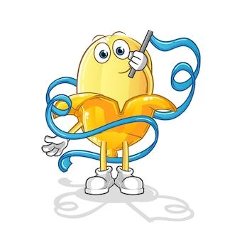 A mascote banana da ginástica rítmica. desenho animado
