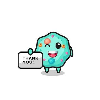 A mascote da ameba segurando uma faixa que diz obrigado, design de estilo fofo para camiseta, adesivo, elemento de logotipo