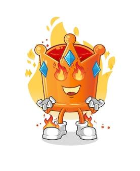 A mascote da coroa em chamas. desenho animado