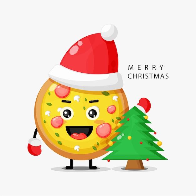 A mascote fofa da pizza celebra o dia de natal