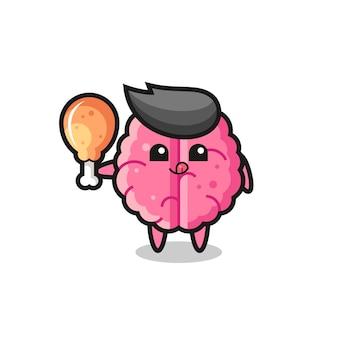 A mascote fofa do cérebro está comendo um frango frito, design de estilo fofo para camiseta, adesivo, elemento de logotipo