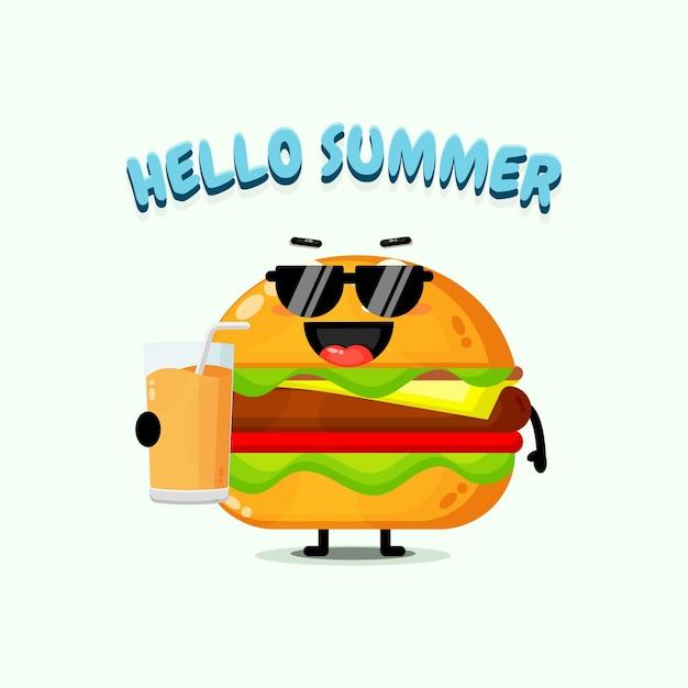 A mascote fofa do hambúrguer traz suco com saudações de verão