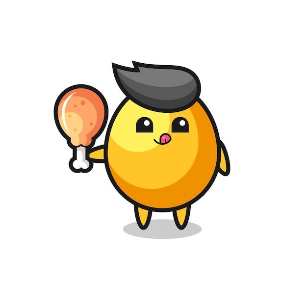 A mascote fofa do ovo dourado está comendo um frango frito, design de estilo fofo para camiseta, adesivo, elemento de logotipo