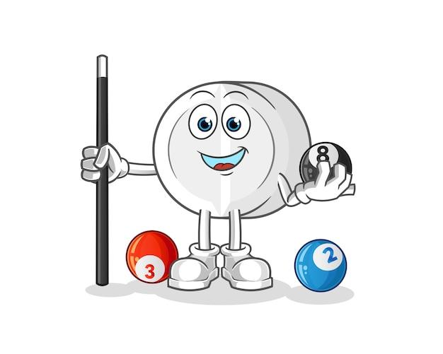 A medicina joga bilhar mascote dos desenhos animados