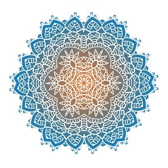 A meditação psicodélica étnica da mandala fractal se parece com um floco de neve