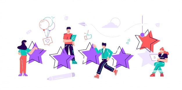 A melhor estimativa de desempenho, a pontuação de cinco pontos. as pessoas deixam feedback e comentários, o trabalho bem-sucedido é a pontuação mais alta. ilustração de design moderno estilo plano no fundo branco