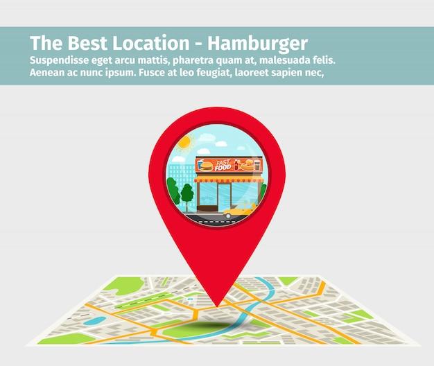 A melhor localização de hambúrguer