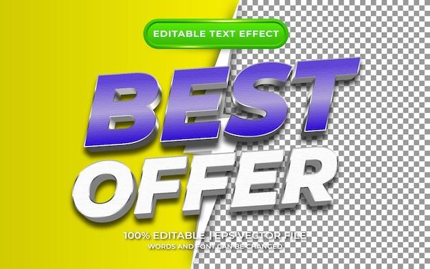 A melhor oferta com estilo de modelo de efeito de texto editável de fundo transparente