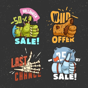 A melhor oferta, etiquetas de venda com as mãos de polegar para cima. cosmonauta, zumbi, esqueleto, besta
