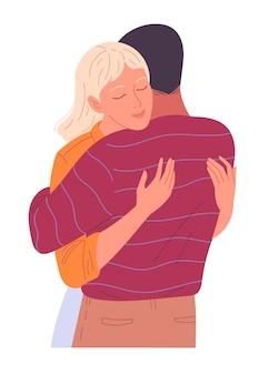 A menina abraça sensualmente a amiga com os olhos fechados.