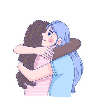 A menina abraça sua amiga