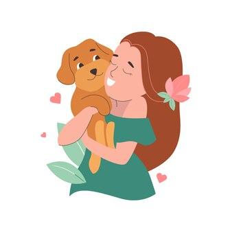 A menina abraçando um cachorro engraçado para o dia mundial do cão e do animal de estimação o cachorrinho é um maltipoo para o adesivo