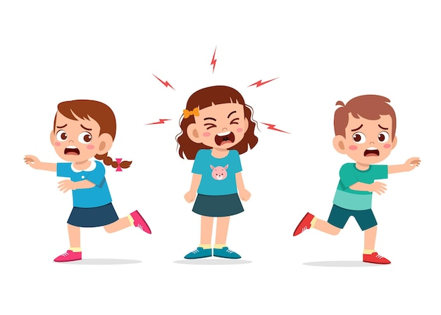 A menina chora e grita muito alto e faz a amiga correr