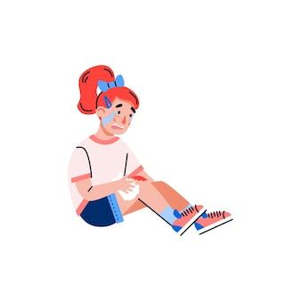 A menina criança está chorando por causa de uma lesão dolorosa no joelho, uma ilustração vetorial