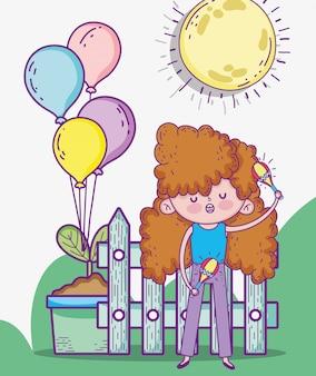 A menina de beuaty joga maracas com balões e planta