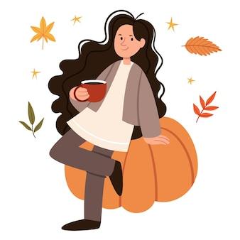 A menina de cabelo encaracolado senta-se em uma grande abóbora e bebe chocolate com clima de outono no estilo escandinavo