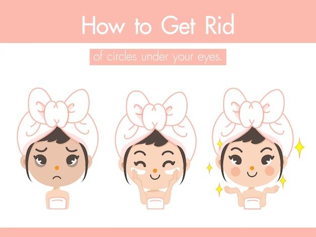 A menina demonstra o creme sob os olhos para se livrar de marcas e rugas opacas e fazer o rosto parecer mais claro e mais jovem.