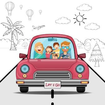 A menina do menino da mulher do homem do carro da tração da mão da garatuja e o viajante dos desenhos animados da família com fumo e o ativo viajam em todo o mundo o conceito.