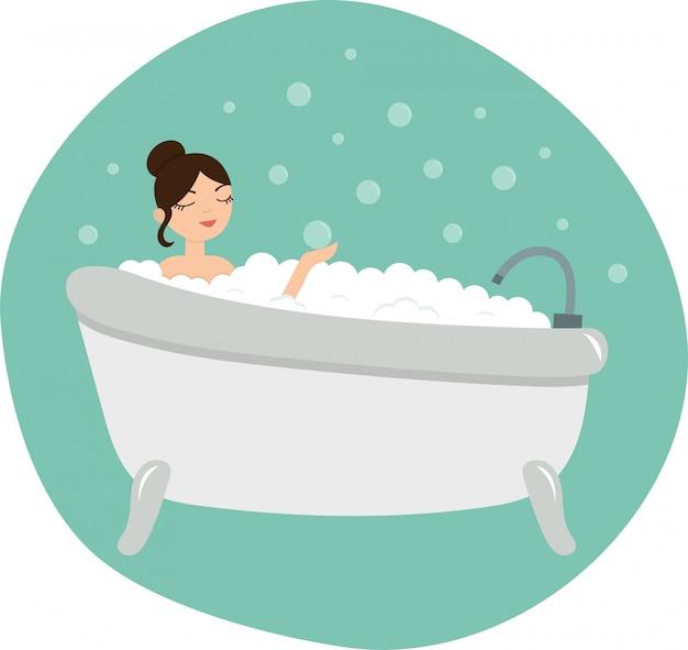 A menina dos desenhos animados toma um banho de espuma. ilustração em vetor estilo simples