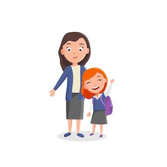 A menina e a professora estão felizes em voltar para a escola. imagem vetorial em estilo de desenho animado simples