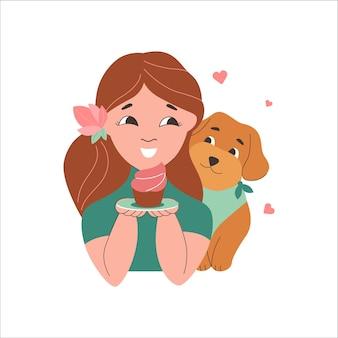 A menina e o cachorro amam docinho para o dia de feriado o filhote de cachorro é um maltipoo para pôster adesivo