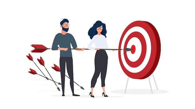 A menina e o cara estão segurando uma flecha. a flecha atinge o alvo. conceito de trabalho em equipe. isolado em um fundo branco. vetor.
