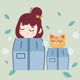 A menina e o gato bonito que cozinham a sauna.