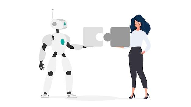 A menina e o robô estão segurando peças do quebra-cabeça. conceito de trabalho em equipe.